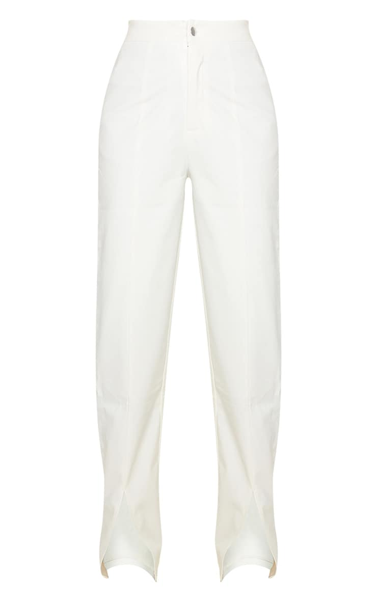 Cream Faux Leather Split Hem Trousers 5