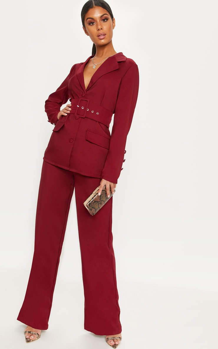 Burgundy Wide Leg Suit Trouser 1