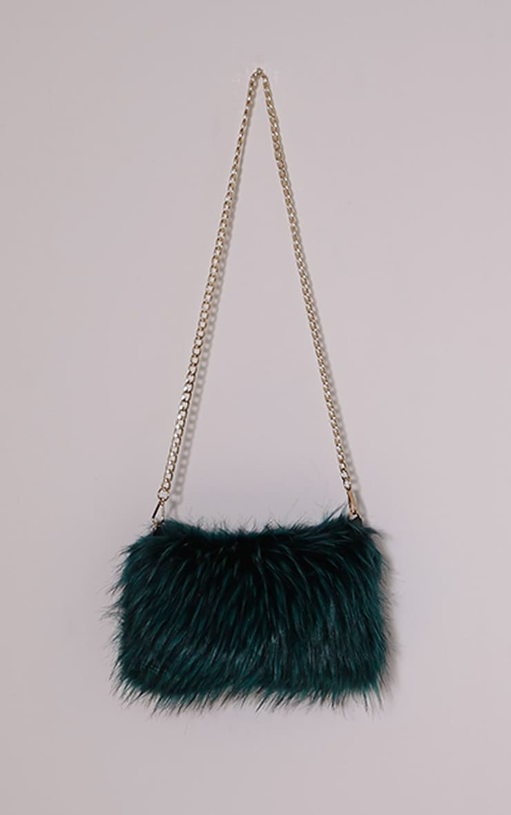 Marny Teal Faux Fur Chain Shoulder Bag 1