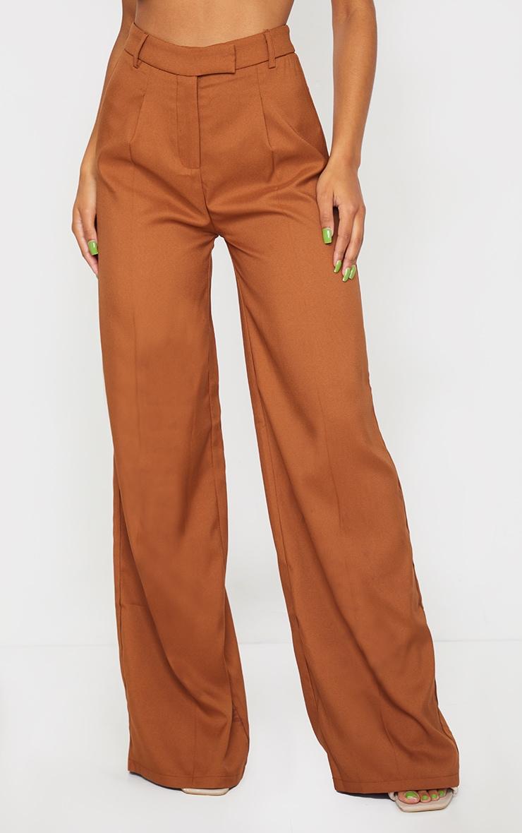 Pantalon à pinces ample tissé taupe 2