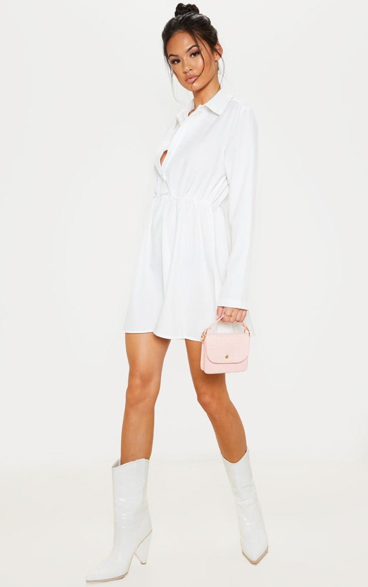 Robe chemise blanche à taille élastique et détail poches 4