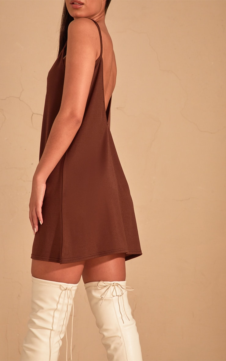 Chocolate Strappy Detail Swing Dress  5