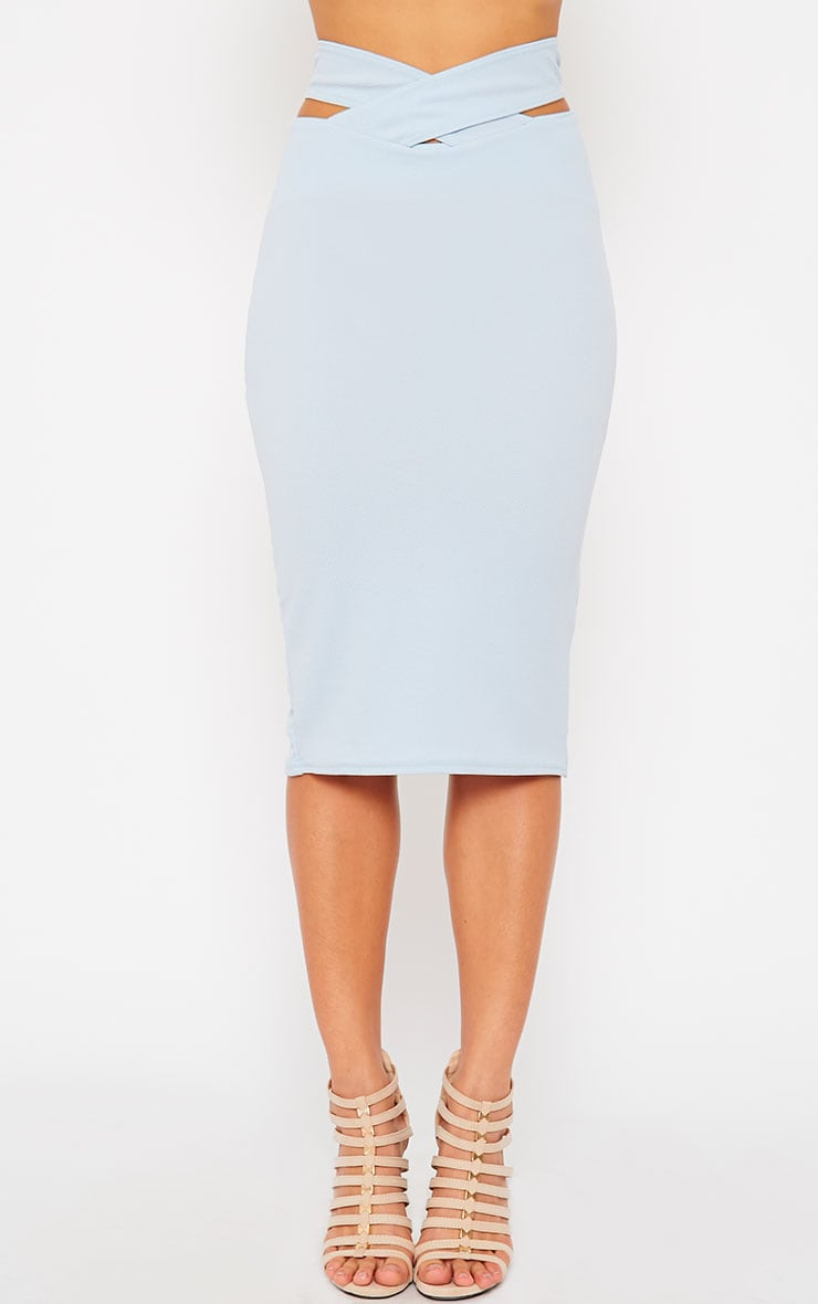 Shanel Blue Cut Out Midi Skirt 2