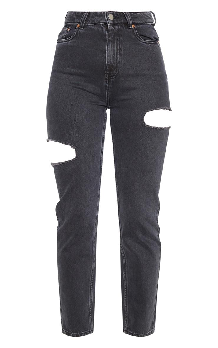 Washed Black Thigh Split Straight Leg Jean 3