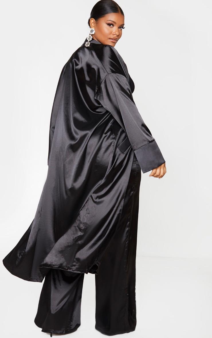 Plus Black Satin Contrast Detail Kimono 3