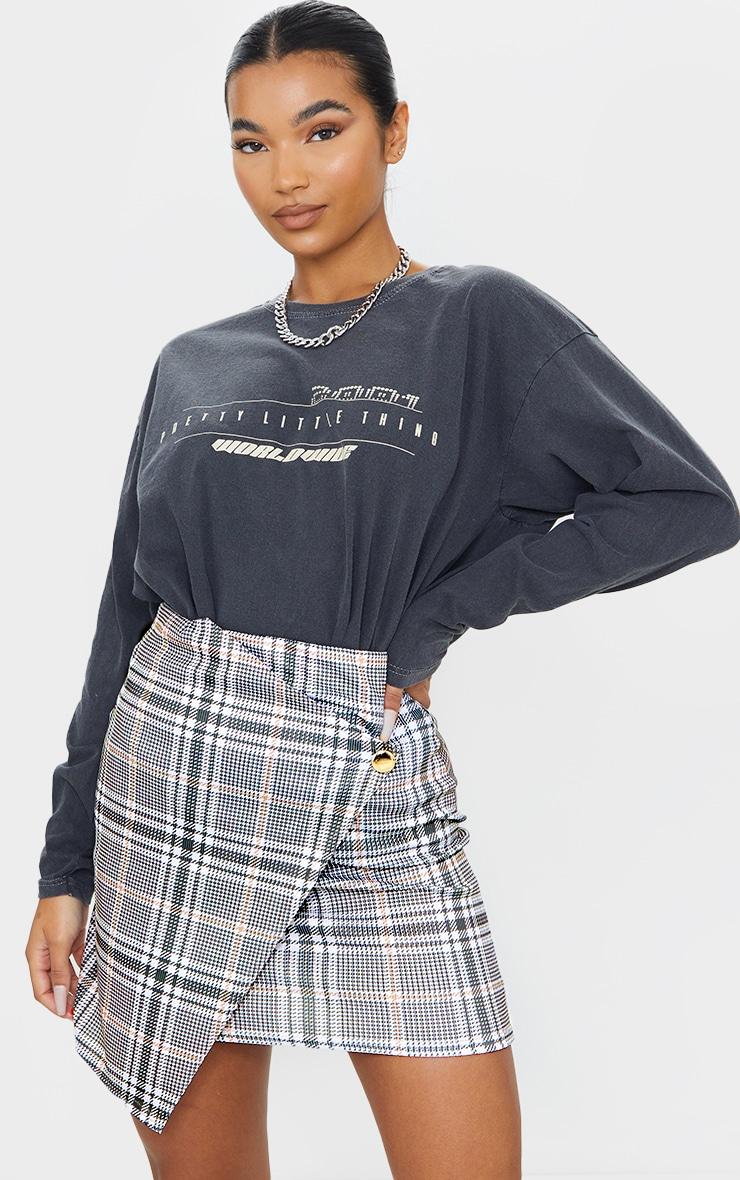 Stone Check Wrap Mini Skirt 4