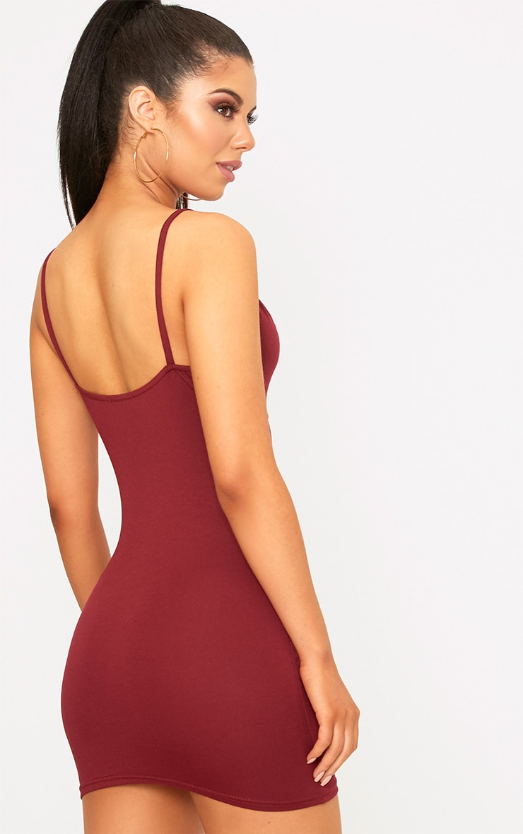 Riana Burgundy Strap Detail Bodycon Dress 2
