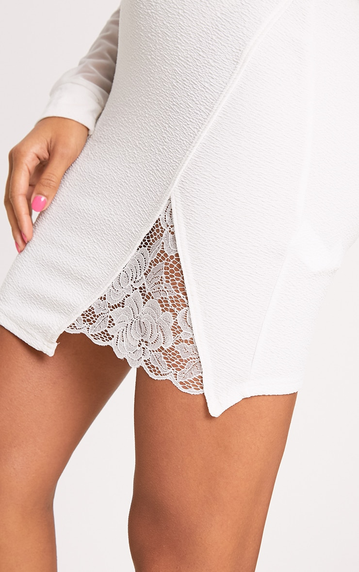 Ivory Lace Insert Split Mini Skirt 6