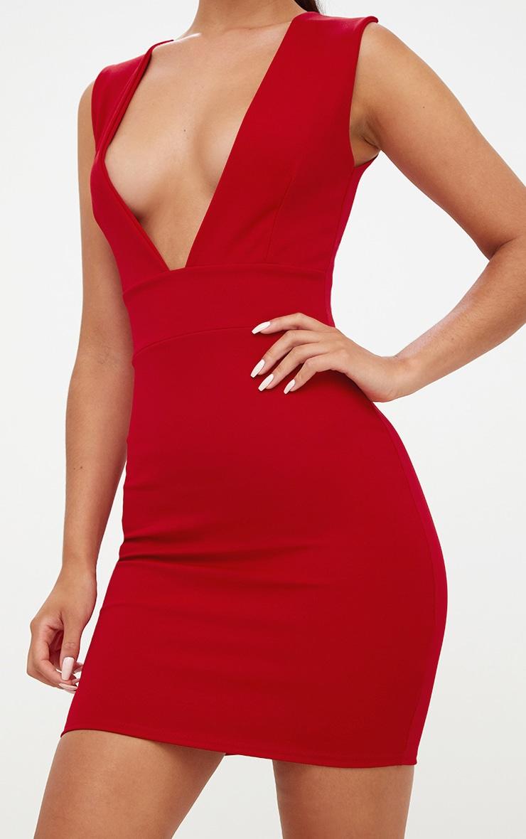 Red Extreme Plunge Sleeveless Bodycon Dress 5
