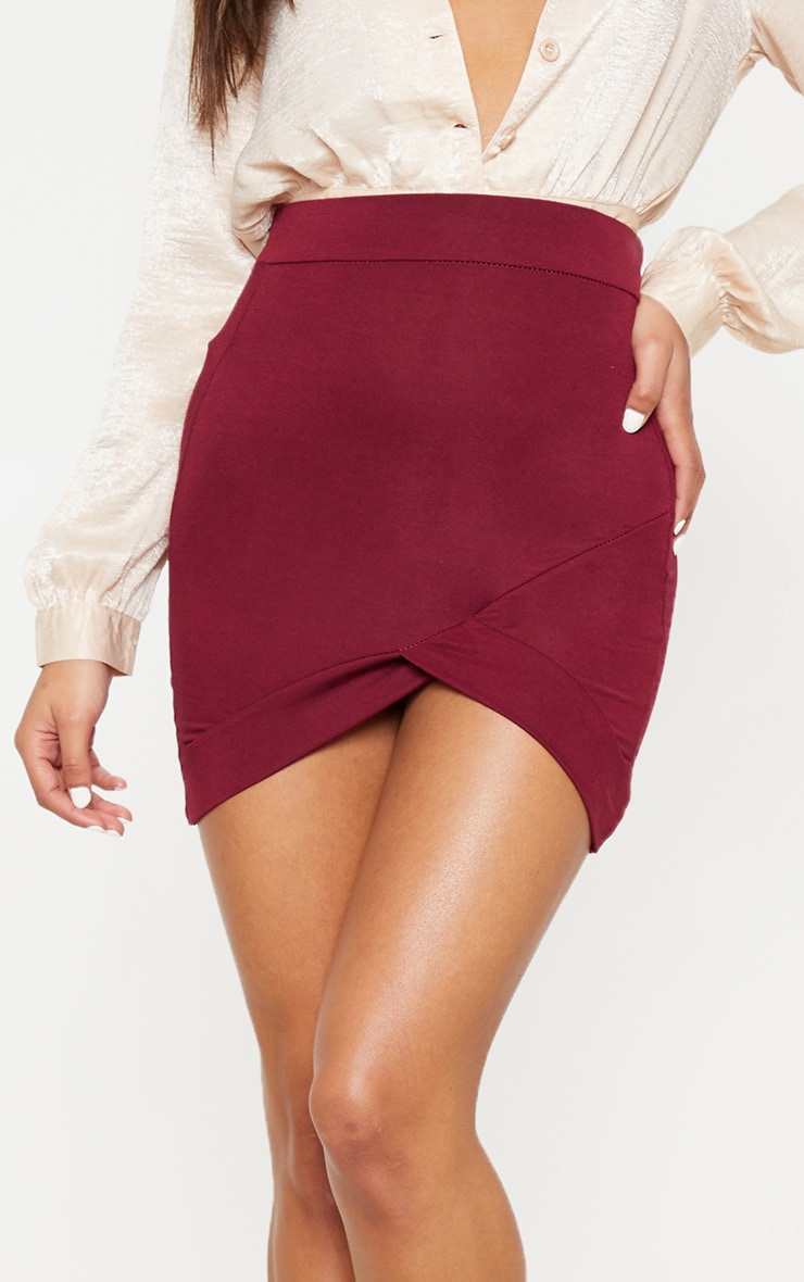 Basic Burgundy Asymmetric Mini Skirt 6