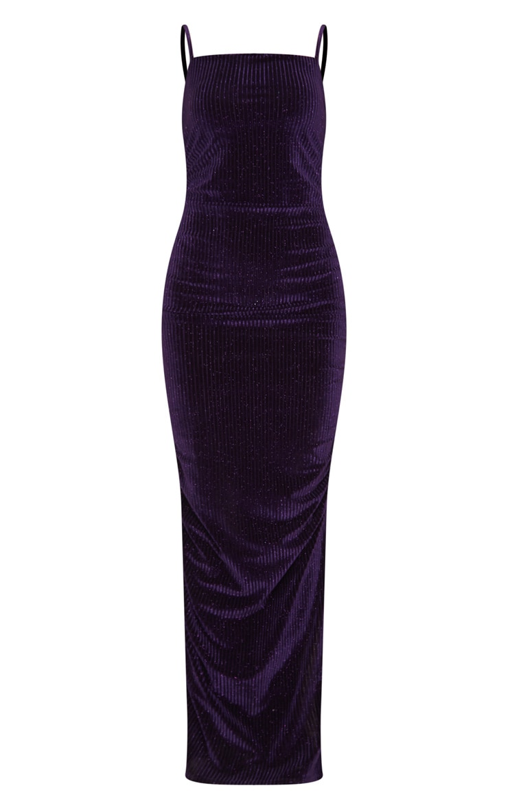 Purple Velvet Glitter Stripe Ruched Midaxi Dress 3