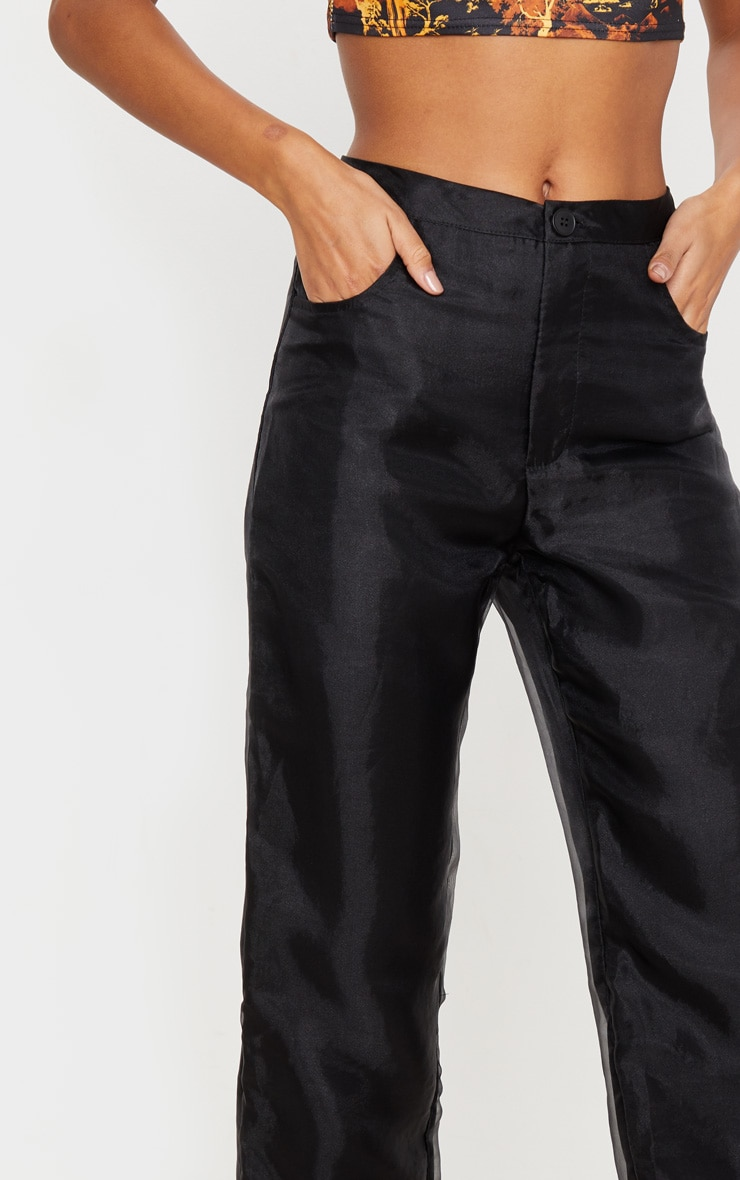 Black Organza Straight Leg Pants 5