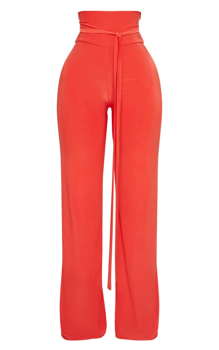 Shape Orange Slinky Extreme High Waist Detail Wide Leg Trousers 3