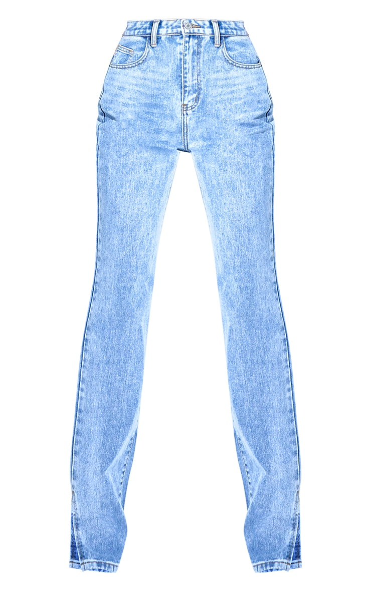 Petite Mid Blue Wash Split Hem Jeans 6