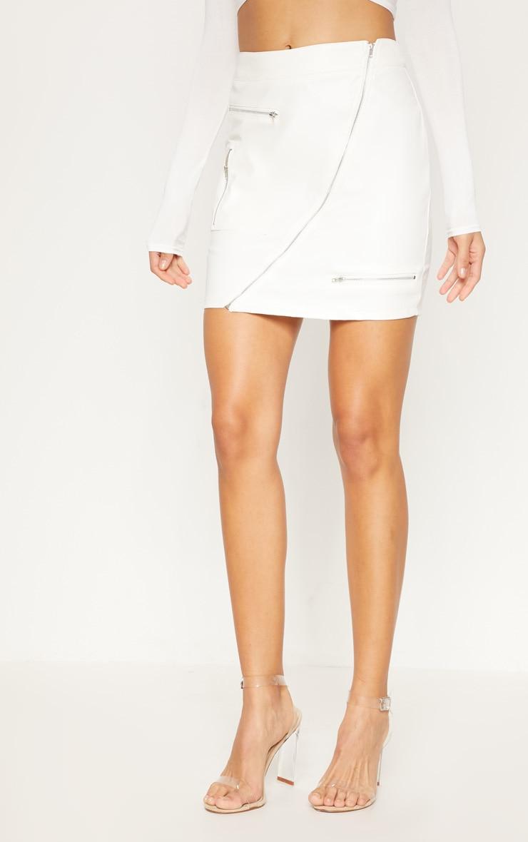 White Faux Leather Zip Detail Mini Skirt 2