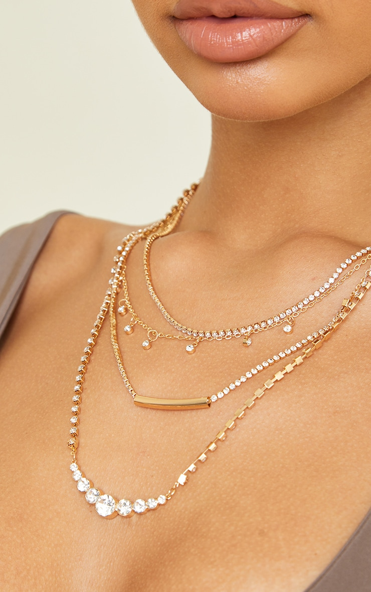 Gold Thin Diamante Layering Chain Necklace 2