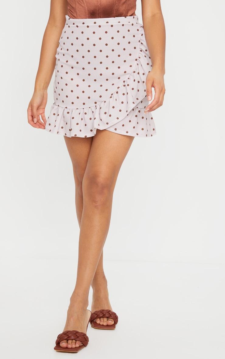 Stone Polka Dot Frill Hem Wrap Skirt 2