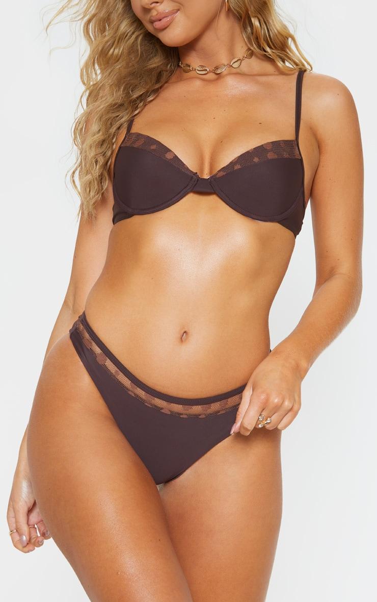 Chocolate Polka Panel Bikini Bottom 1