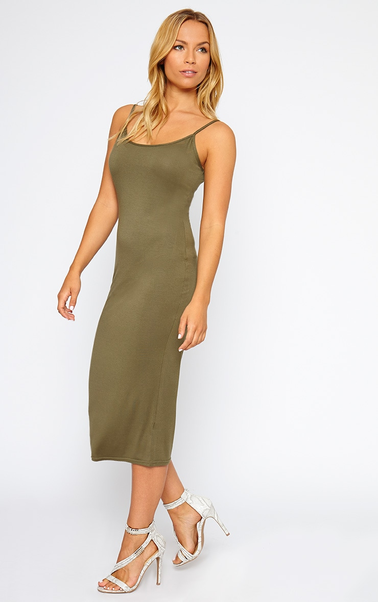 Madelyn Khaki Midi Vest Dress 3