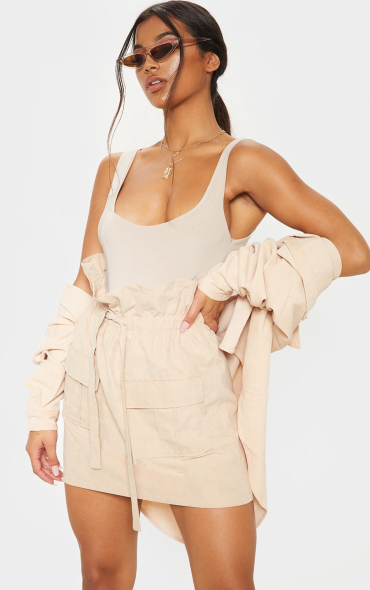 Mini jupe paperbag camel effet daim 1