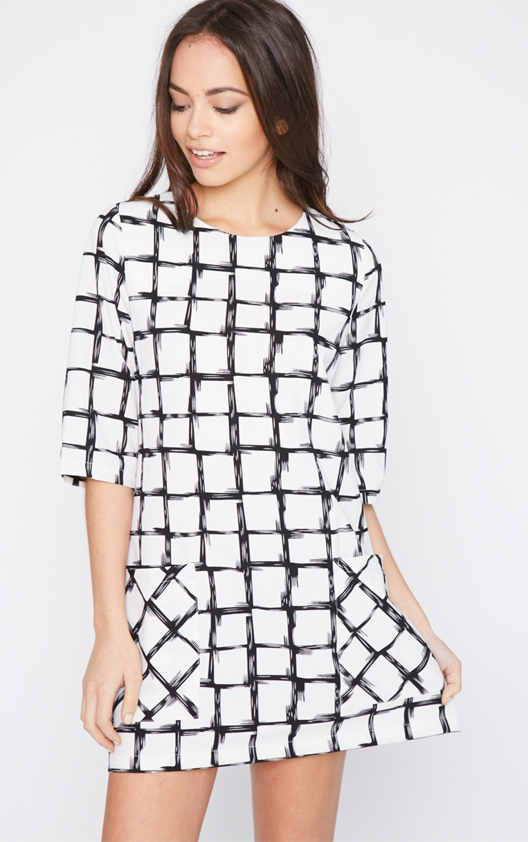 Agni White Check Shift Dress 4