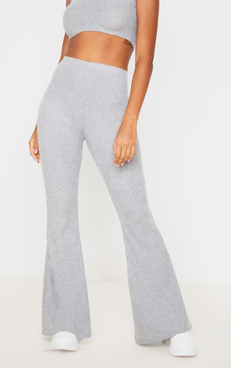 Grey Brushed Rib High Waisted Flared Trouser 4