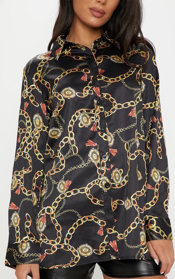 Black Satin Chain Print Shirt 5