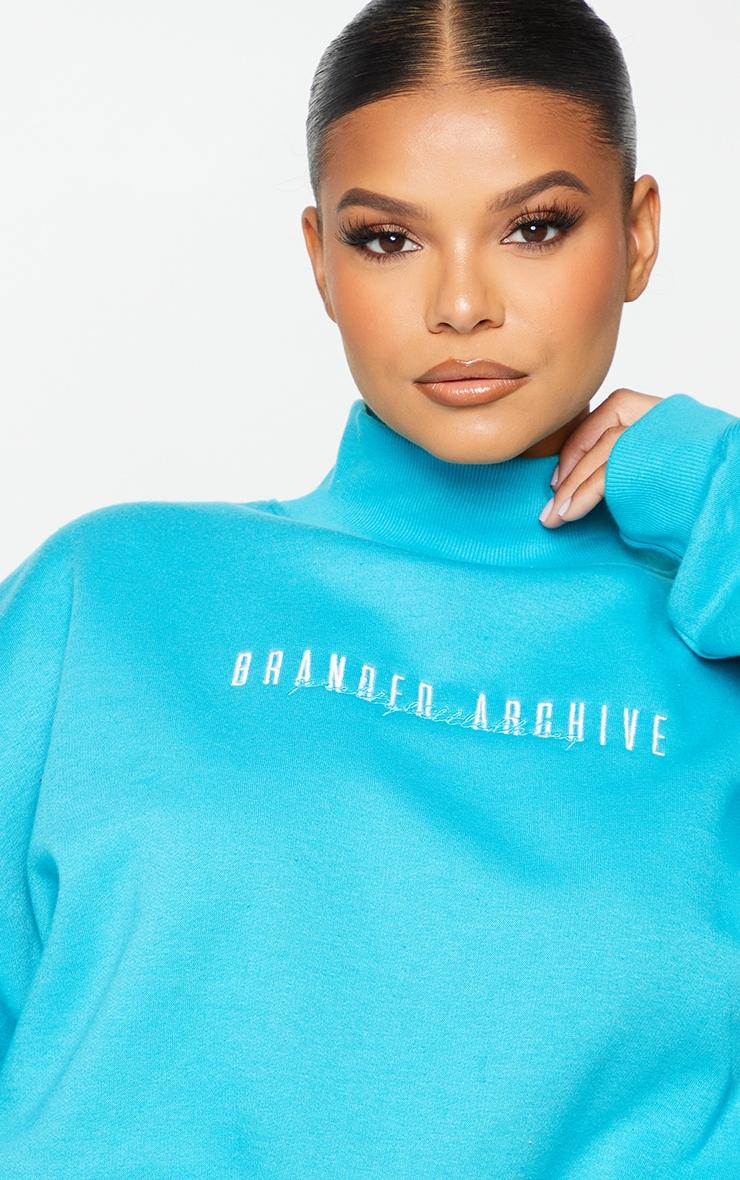 Plus Blue High Neck Crop Sweatshirt 4