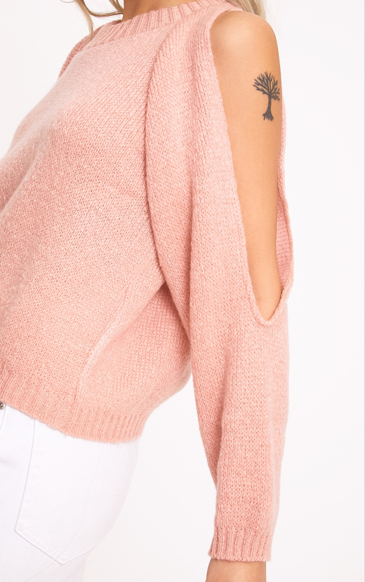 Aingeal Blush Cropped Cold Shoulder Knitted Jumper 5