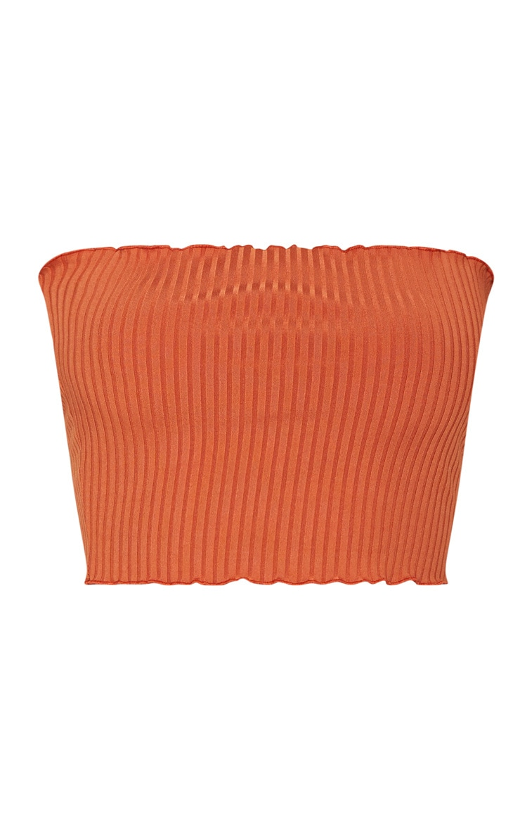 Crop top bandeau orange brûlé côtelé à volants  3