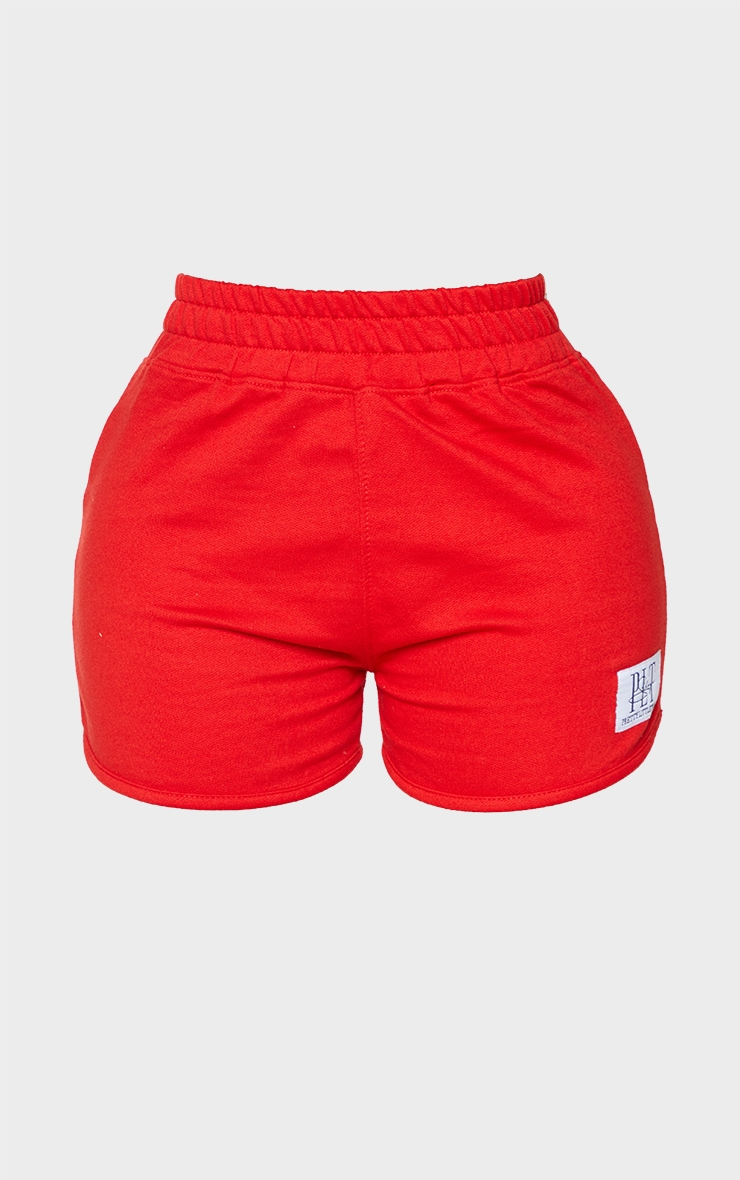 PRETTYLITTLETHING Shape Red Badge Sweat Shorts 6