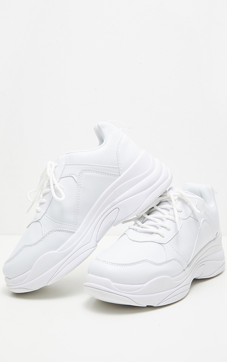 White Chunky Sole Lace Up Sneakers 3
