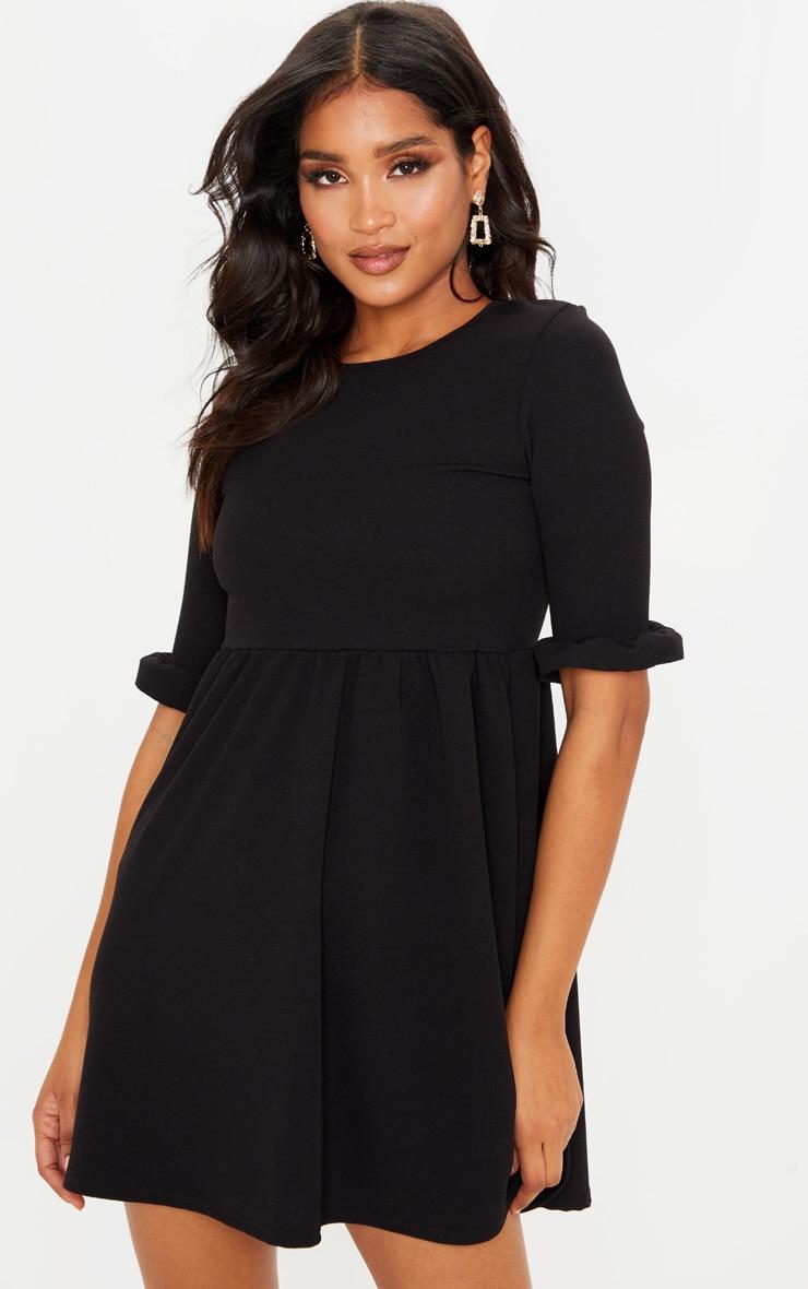 Black Frill Sleeve Detail Crepe Smock Dress 1
