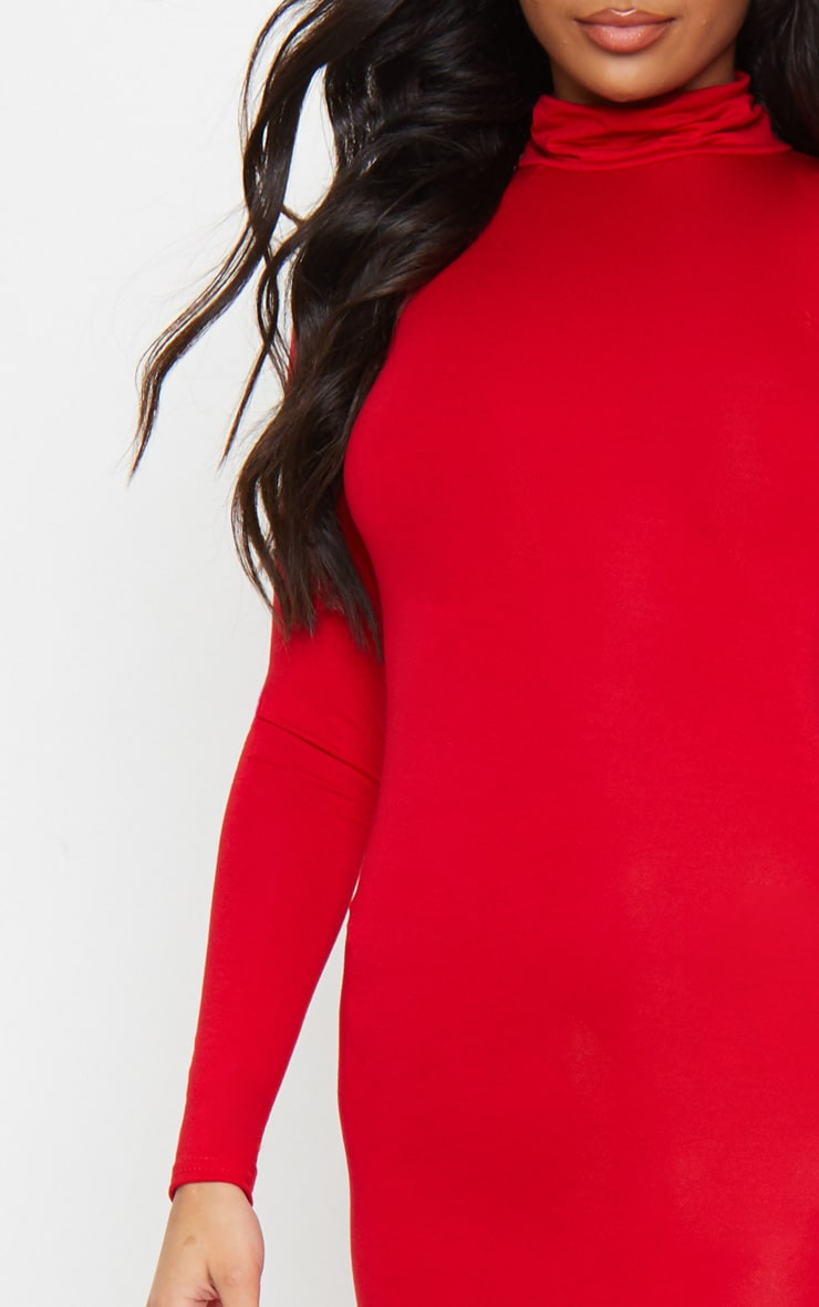 Basic Red Roll Neck Midi Dress 4