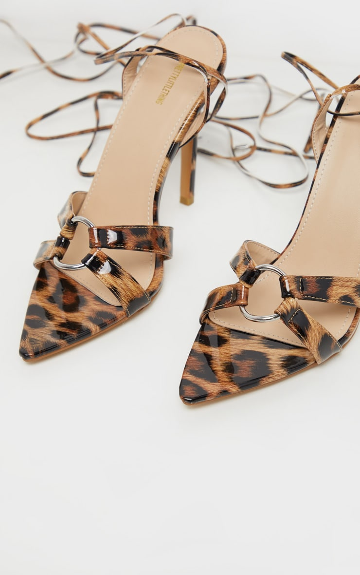 Leopard Point Ring Detail Lace Up Sandal 3