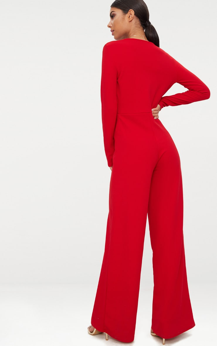 Red Crepe Long Sleeve Plunge Jumpsuit  2