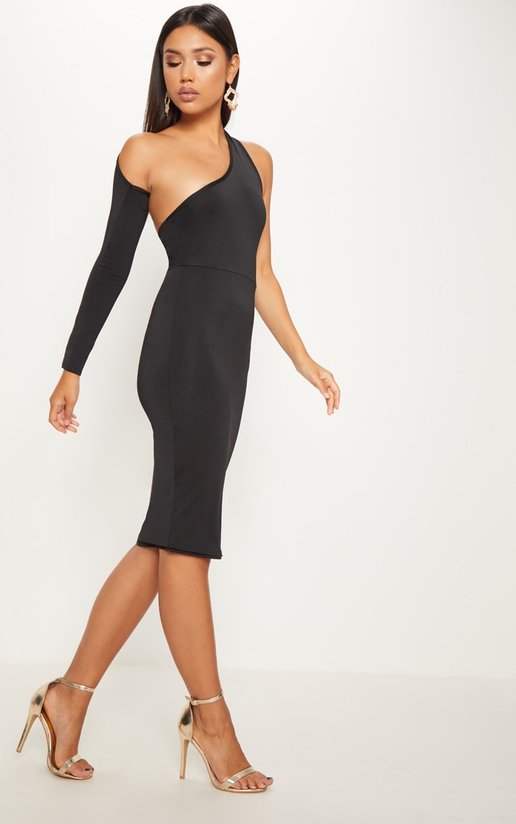 Black Disco Slinky One Shoulder Midi Dress 5