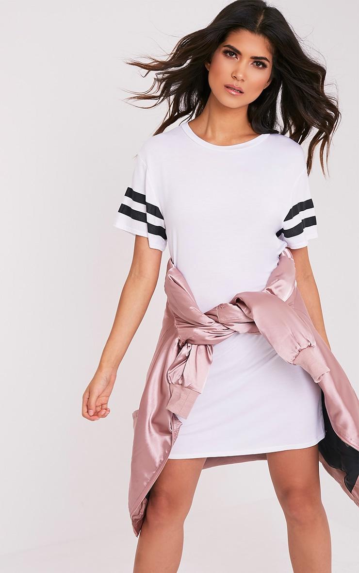 Neekha White Striped Sleeve T-Shirt Dress 4