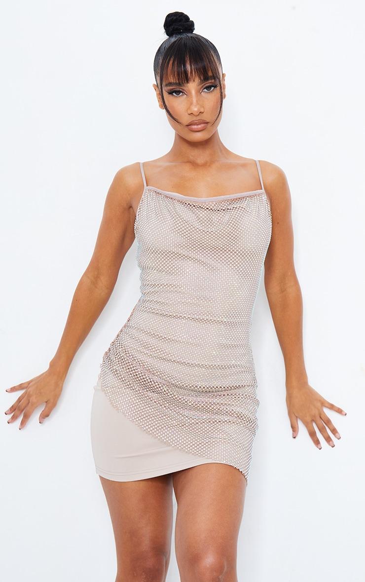 Taupe Diamante Strappy Cowl Neck Bodycon Dress 6