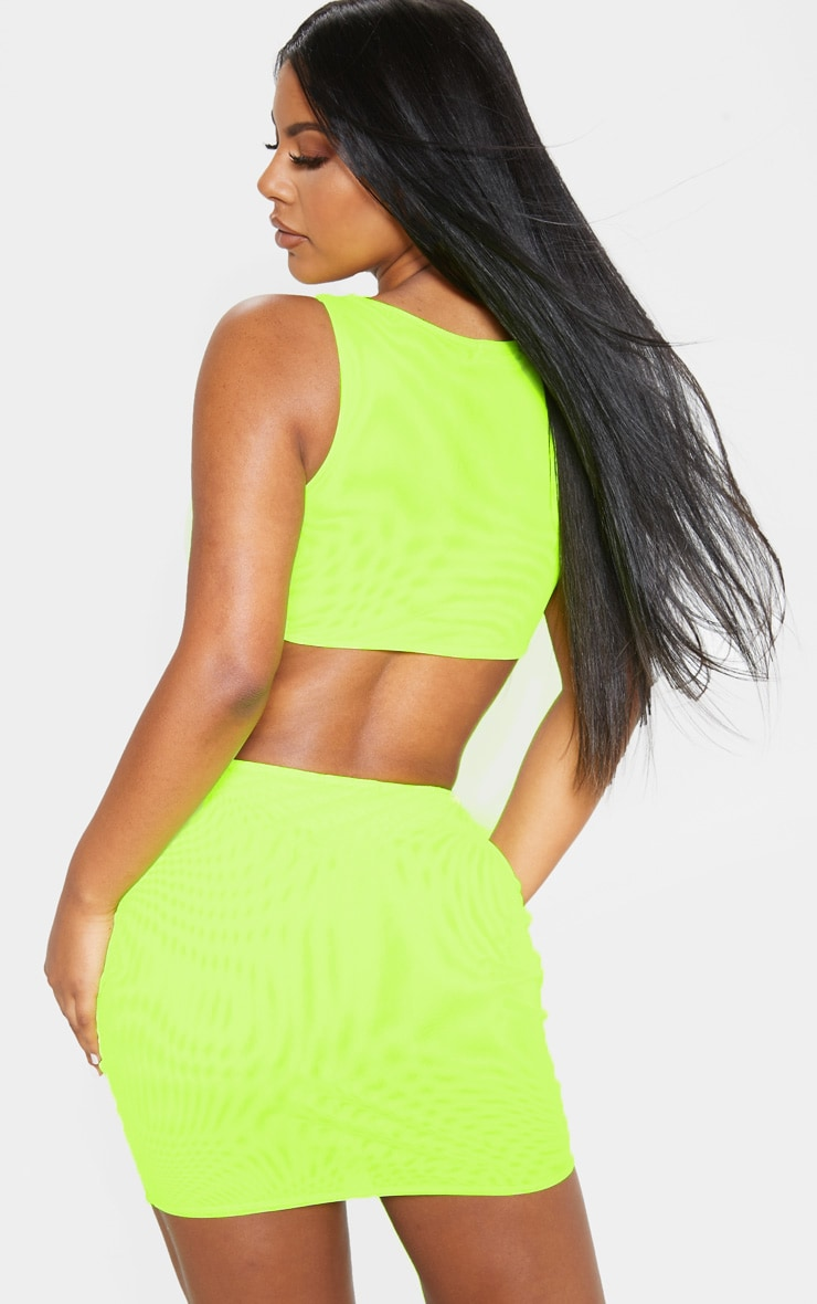 Neon Yellow Mesh Scoop Neck Sleeveless Top 2
