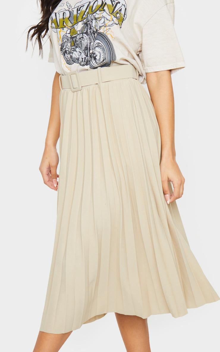 Stone Pleated Belted Midi Skirt 4