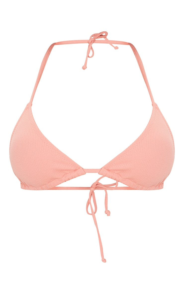 Coral Ribbed Padded Triangle Bikini Top 5