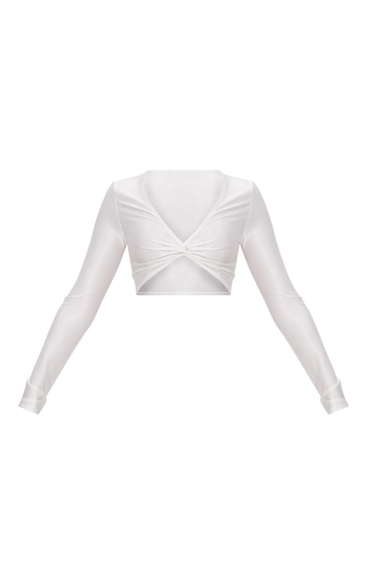 Cream Slinky Shimmer Long Sleeve Crop Top  3