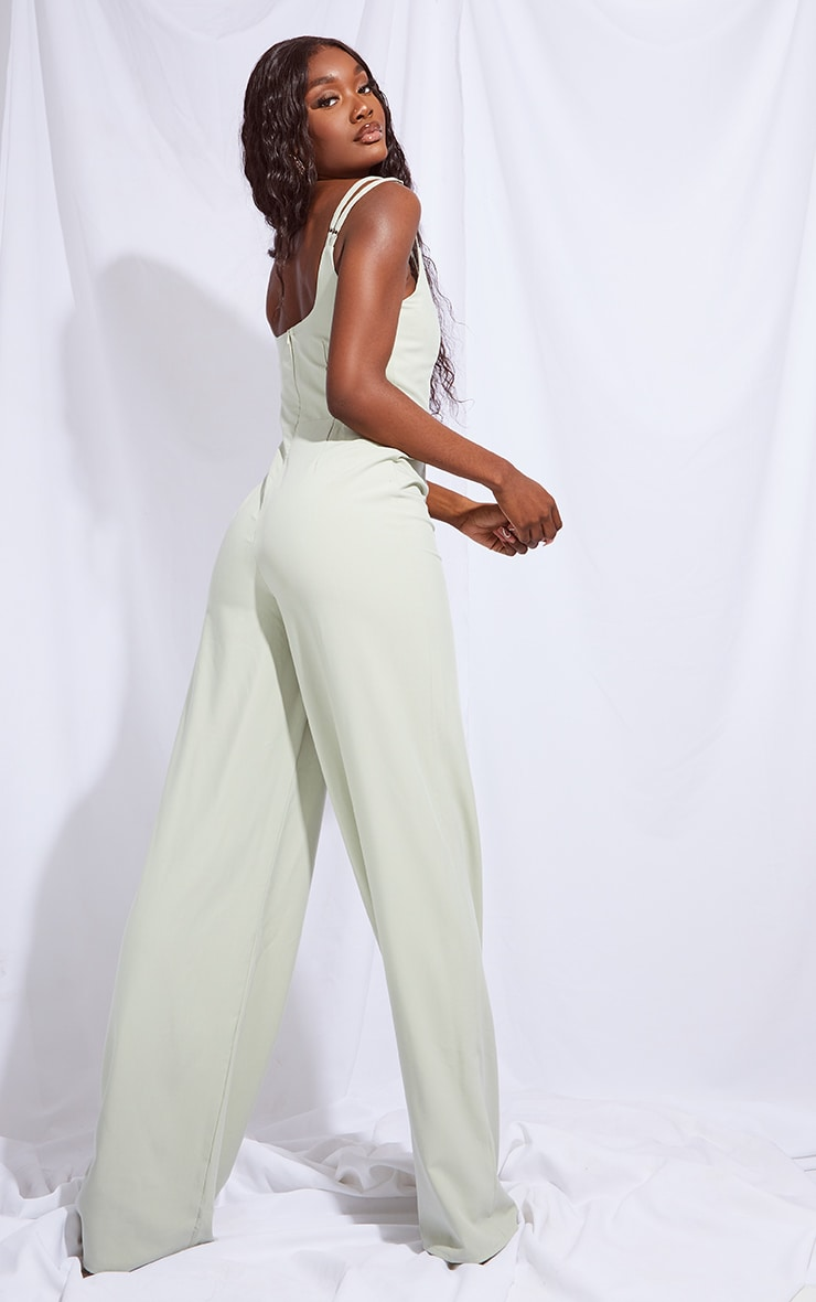 Tall Sage Green Cup Detail Wide Leg Jumpsuit 2