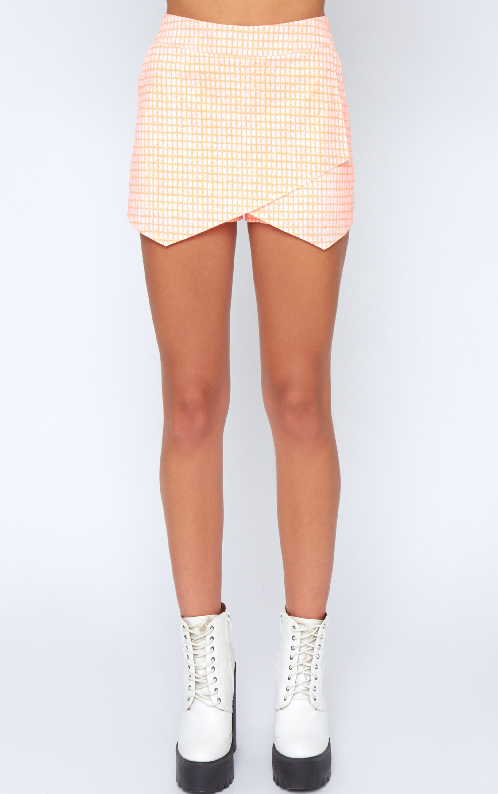 Mimi Orange Abstract Check Skort 5