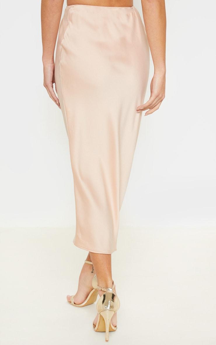 Champagne Midi Satin Skirt 4