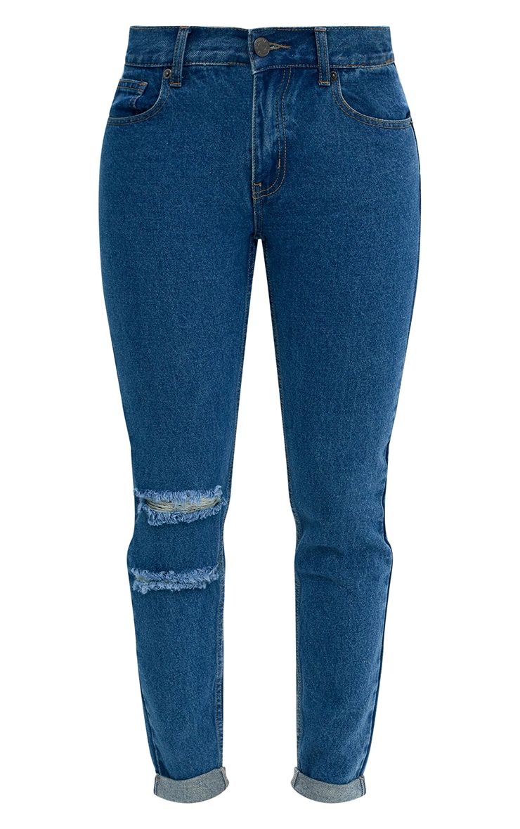 Mid Wash Double Rip Slim Leg Jean 3