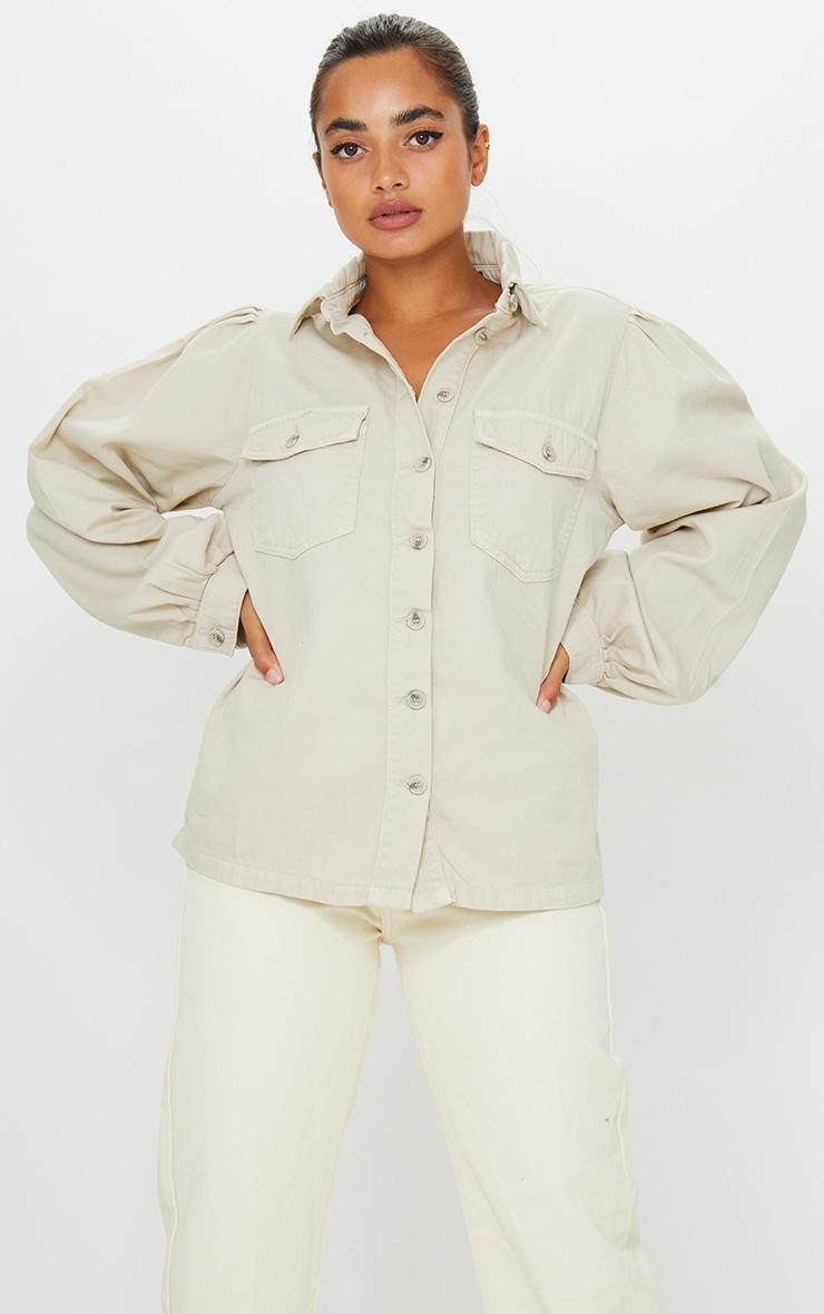 Petite Stone Washed Balloon Sleeve Denim Shirt 1