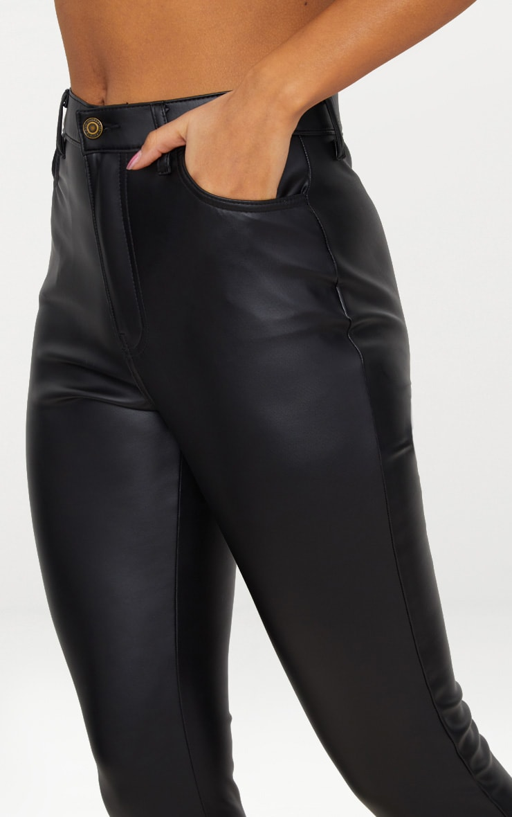 Black Button Up PU Skinny Trouser 5