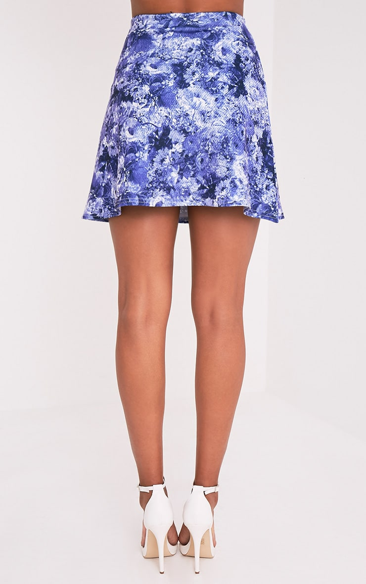 Tamira Blue Oriental A-Line Mini Skirt 5